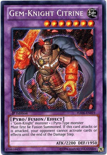 YuGiOh Trading Card Game Hidden Arsenal 6: Omega XYZ Secret Rare Gem-Knight Citrine HA06-EN019