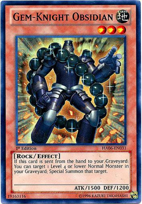 YuGiOh Trading Card Game Hidden Arsenal 6: Omega XYZ Super Rare Gem-Knight Obsidian HA06-EN031