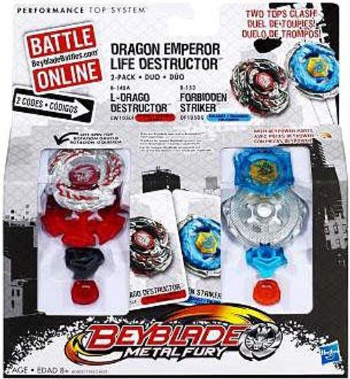 Beyblade Metal Fury Dragon Emperor Life Destructor 2-Pack