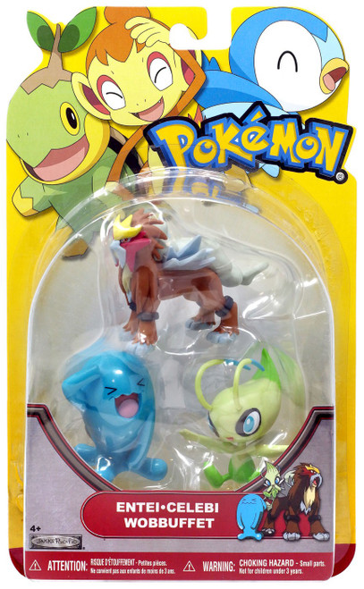 Pokemon HeartGold & Soulsilver Series 19 Entei, Celebi & Wobbuffet Figure 3-Pack