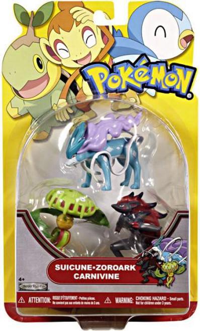 Pokemon HeartGold & Soulsilver Series 19 Suicune, Zoroark & Carnivine Figure 3-Pack