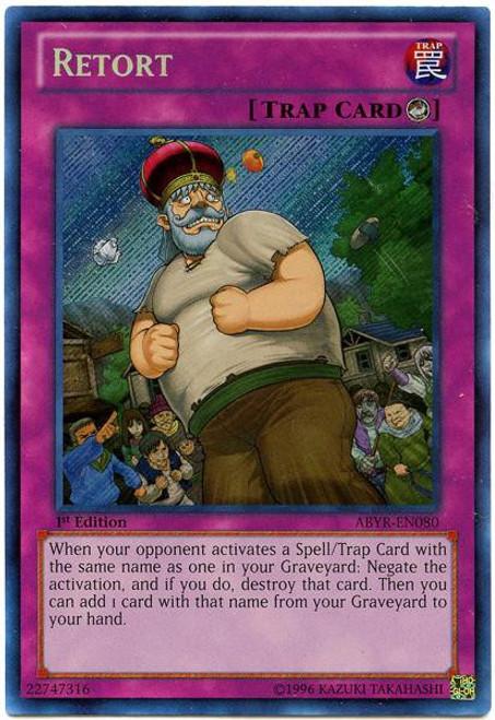 YuGiOh Trading Card Game Abyss Rising Secret Rare Retort ABYR-EN080
