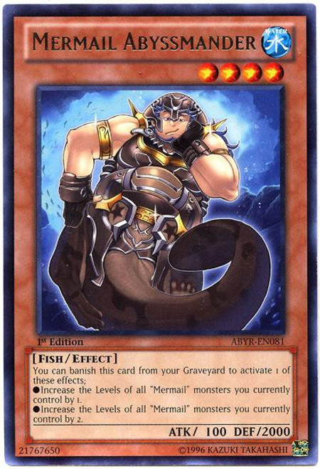 YuGiOh Trading Card Game Abyss Rising Rare Mermail Abyssmander ABYR-EN081