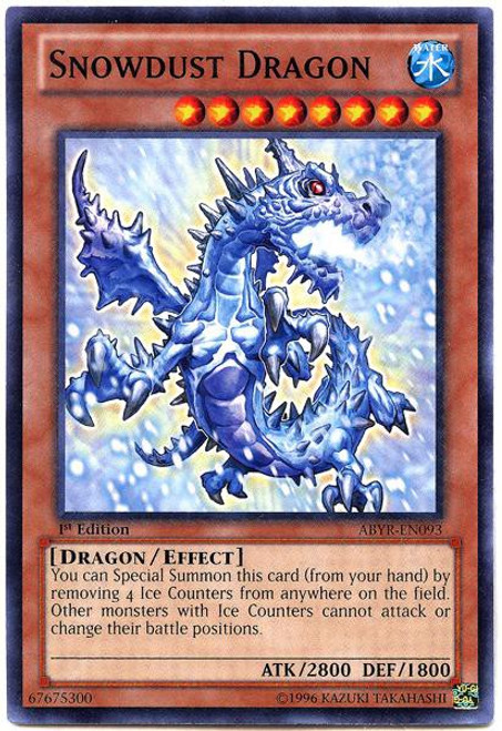 YuGiOh Trading Card Game Abyss Rising Common Snowdust Dragon ABYR-EN093