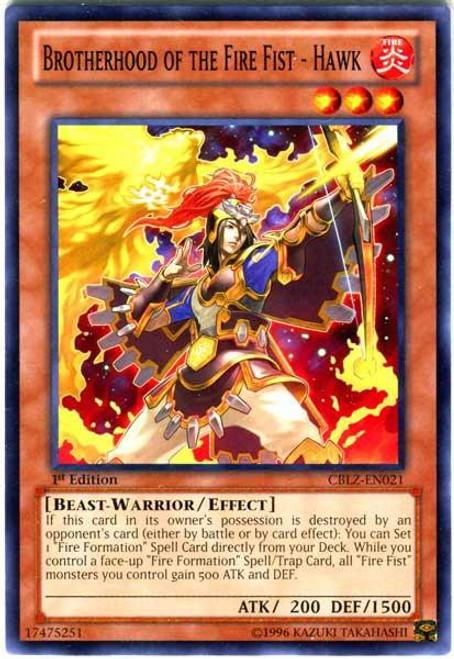 YuGiOh Trading Card Game Cosmo Blazer Common Brotherhood of the Fire Fist - Hawk CBLZ-EN021