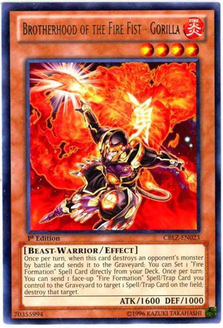 YuGiOh Trading Card Game Cosmo Blazer Rare Brotherhood of the Fire Fist - Gorilla CBLZ-EN023