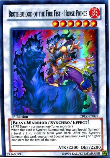 YuGiOh Trading Card Game Cosmo Blazer Super Rare Brotherhood of the Fire Fist - Horse Prince CBLZ-EN097