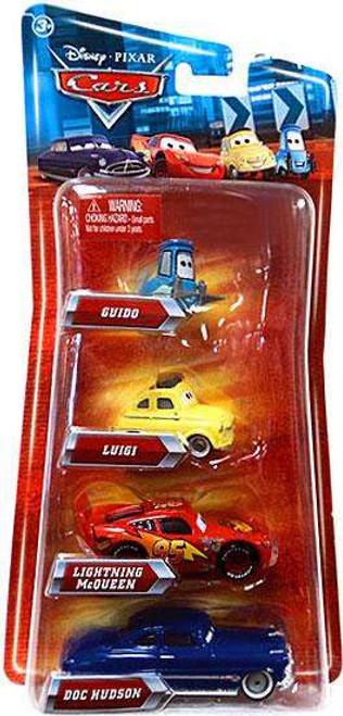 Disney / Pixar Cars Multi-Packs Guido, Luigi, McQueen & Doc 4-Pack Exclusive Diecast Car Set