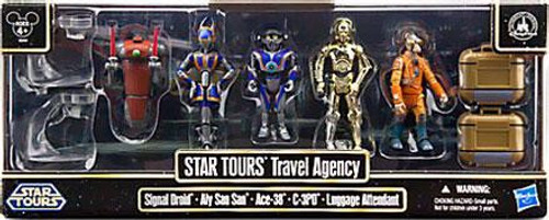 Star Wars Star Tours Travel Agency Exclusive Action Figure 5-Pack [Signal Droid, Aly San San, Ace-38, C-3PO & Luggage Attendant]