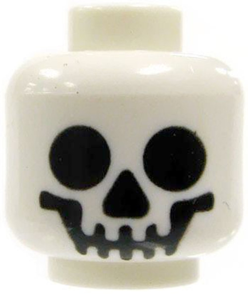 White Smiling Skull Minifigure Head [Loose]
