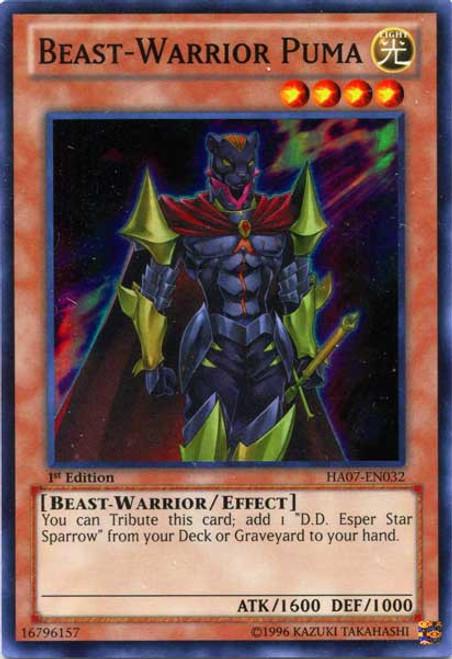 YuGiOh Trading Card Game Hidden Arsenal 7: Knight of Stars Super Rare Beast-Warrior Puma HA07-EN032