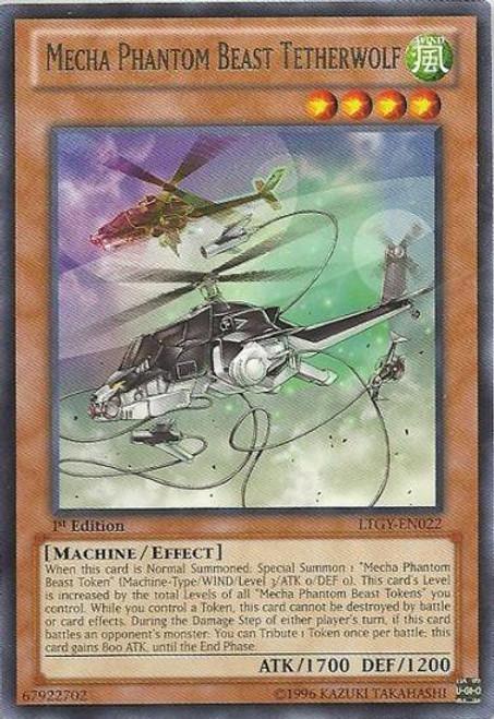YuGiOh Trading Card Game Lord of the Tachyon Galaxy Rare Mecha Phantom Beast Tetherwolf LTGY-EN022