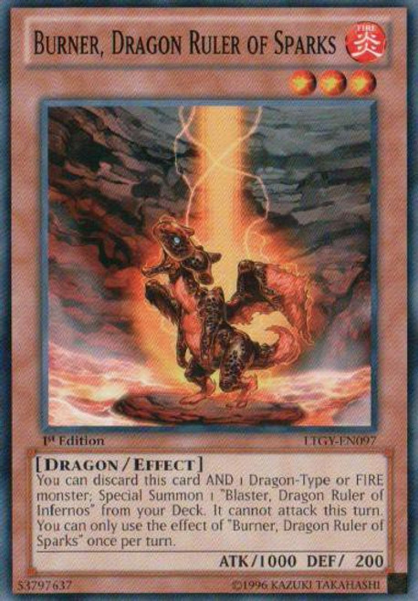 YuGiOh Trading Card Game Lord of the Tachyon Galaxy Common Burner, Dragon Ruler of Sparks LTGY-EN097