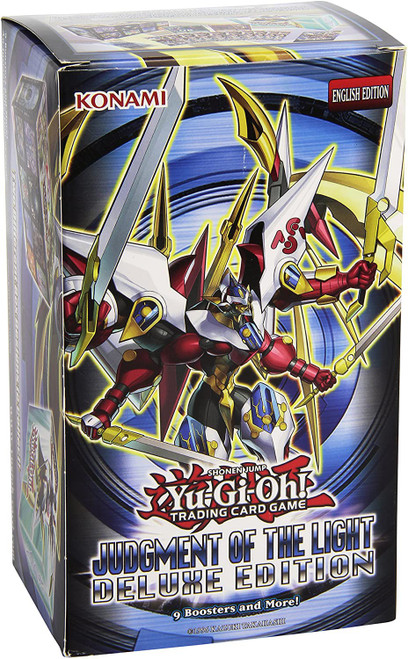 YuGiOh Trading Card Game Judgment of the Light Deluxe Edition Box [9 Booster Packs, 50 Sleeves & 3 Promo Foil Cards]