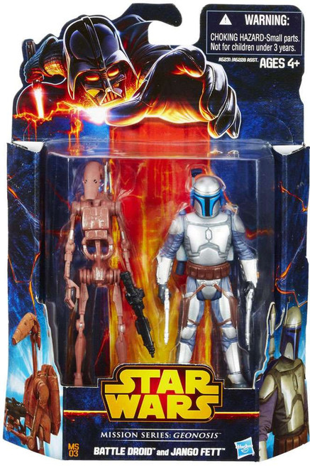 Star Wars Attack of the Clones 2013 Mission Series Battle Droid & Jango Fett Action Figure 2-Pack MS03 [Geonosis]