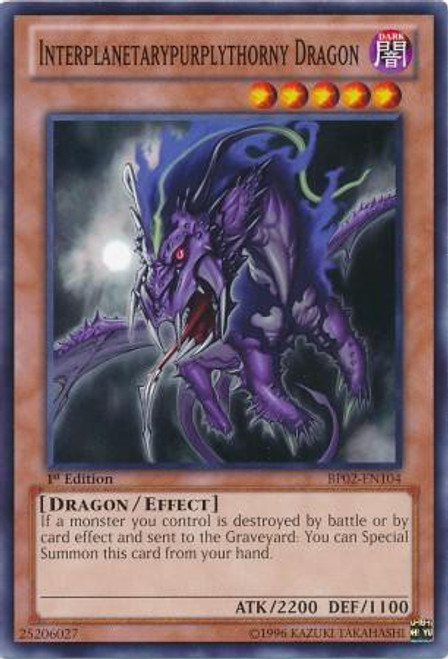 YuGiOh Battle Pack 2: War of the Giants Common Interplanetarypurplythorny Dragon BP02-EN104