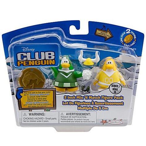 Club Penguin Mix 'N Match Series 10 Yellow Team & Green Team Cheerleader Mini Figure Set