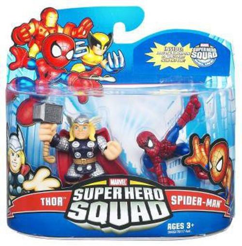 Marvel Super Hero Squad Series 21 Spider-Man & Thor 3-Inch Mini Figure 2-Pack
