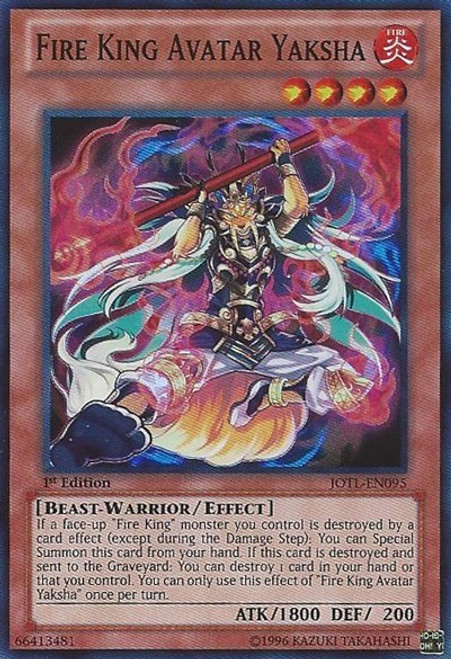 YuGiOh Trading Card Game Judgment of the Light Super Rare Fire King Avatar Yaksha JOTL-EN095