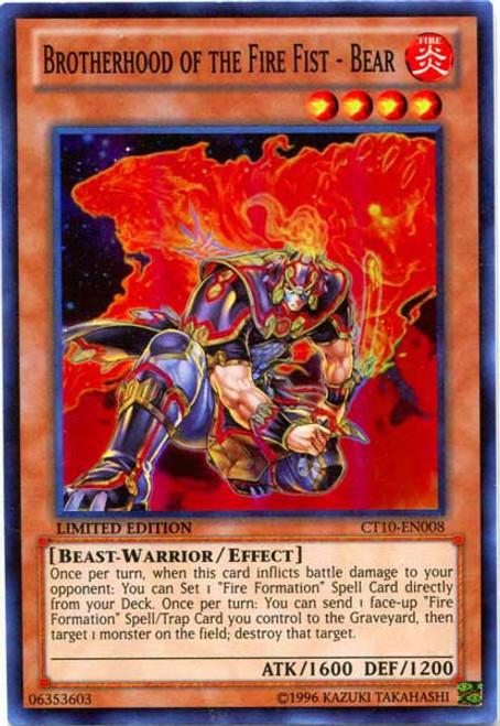 YuGiOh Holiday Tin Promo Super Rare Brotherhood of the Fire Fist - Bear CT10-EN008