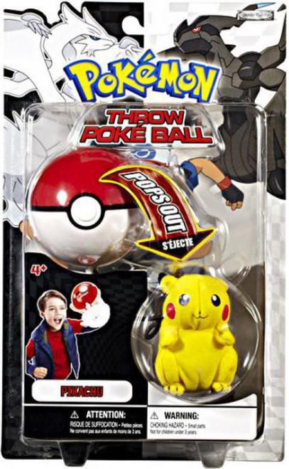 Pokemon Black & White B&W Series 1 Pikachu Throw Poke Ball Plush