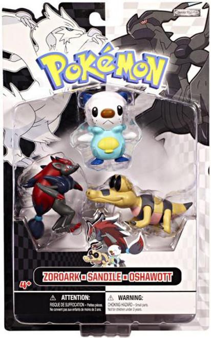 Pokemon Black & White Series 1 Basic Zoroark, Sandile & Oshawott Figure 3-Pack