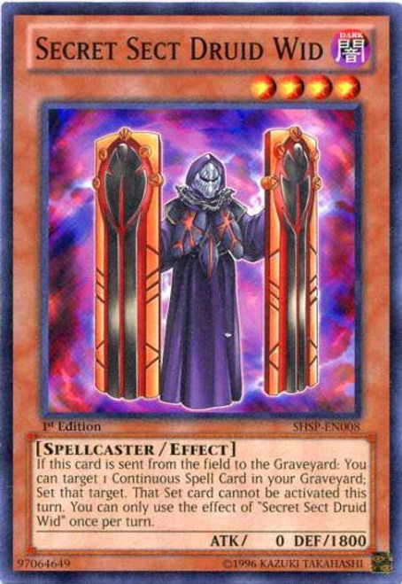 YuGiOh Trading Card Game Shadow Specters Common Secret Sect Druid Wid SHSP-EN008
