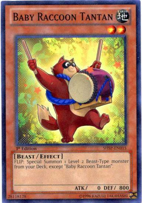 YuGiOh Trading Card Game Shadow Specters Common Baby Raccoon Tantan SHSP-EN015