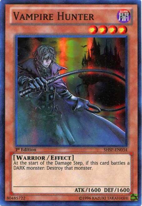 YuGiOh Trading Card Game Shadow Specters Super Rare Vampire Hunter SHSP-EN034