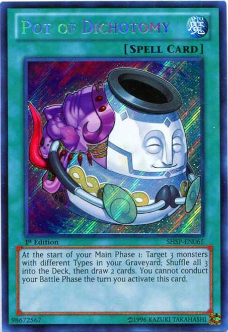 YuGiOh Trading Card Game Shadow Specters Secret Rare Pot of Dichotomy SHSP-EN065