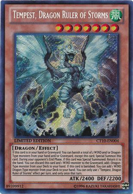 YuGiOh Holiday Tin Promo Secret Rare Tempest, Dragon Ruler of Storms CT10-EN004