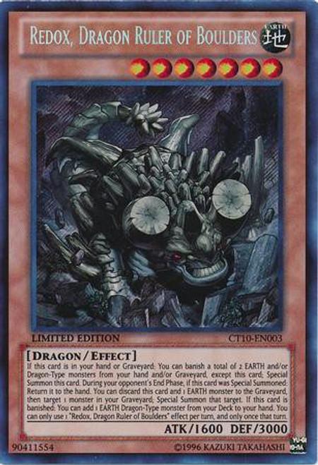 YuGiOh Holiday Tin Promo Secret Rare Redox, Dragon Ruler of Boulders CT10-EN003