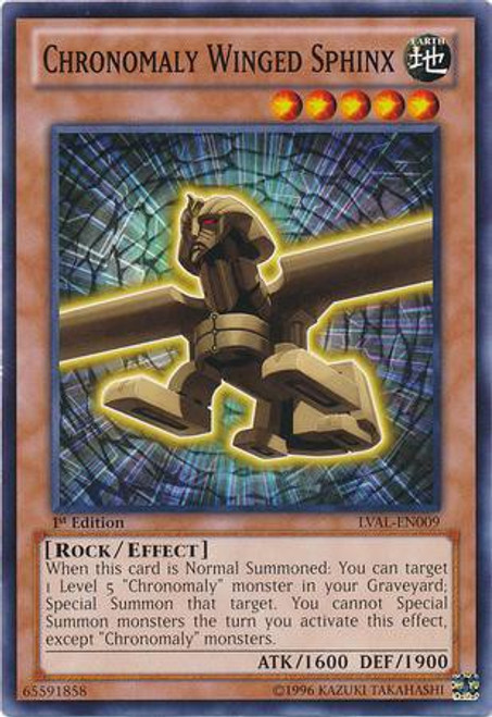 YuGiOh Trading Card Game Legacy of the Valiant Common Chronomaly Winged Sphinx LVAL-EN009