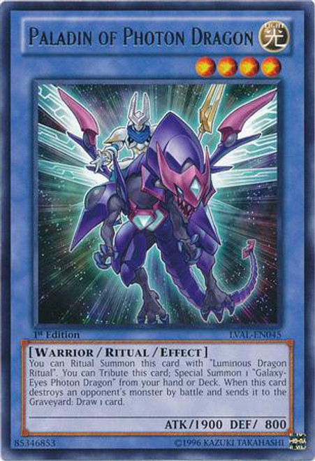 YuGiOh Trading Card Game Legacy of the Valiant Rare Paladin of Photon Dragon LVAL-EN045