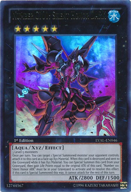 YuGiOh Zexal Trading Card Game Legacy of the Valiant Ultra Rare Number C101: Silent Honor DARK LVAL-EN046