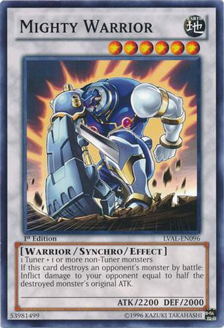 YuGiOh Trading Card Game Legacy of the Valiant Common Mighty Warrior LVAL-EN096