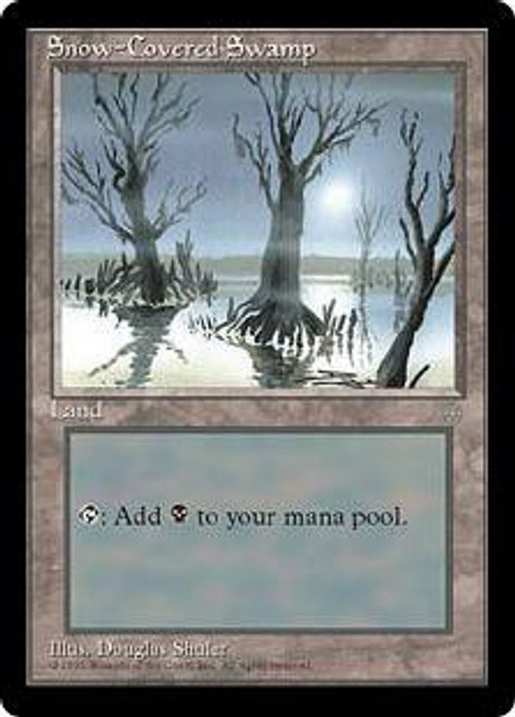 MtG Ice Age Basic Land Snow-Covered Swamp [Slightly Played Condition]