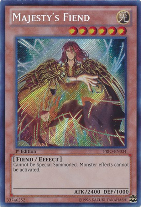 YuGiOh Trading Card Game Primal Origin Secret Rare Majesty's Fiend PRIO-EN034