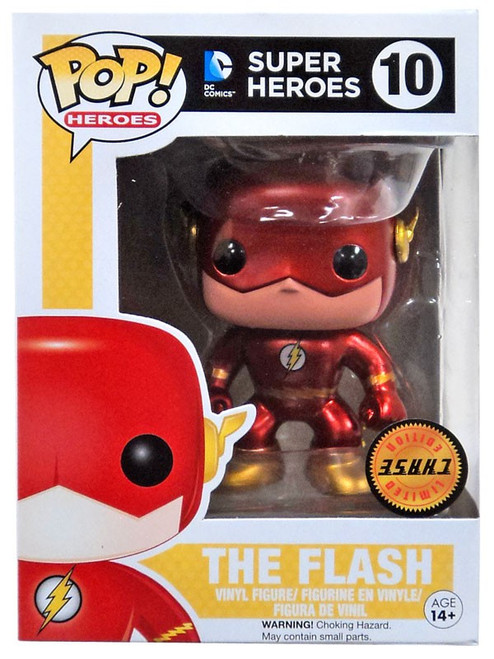 Funko DC Universe POP! Heroes The Flash Vinyl Figure #10 [UPSIDE DOWN STICKER! Metallic ChaseVersion]