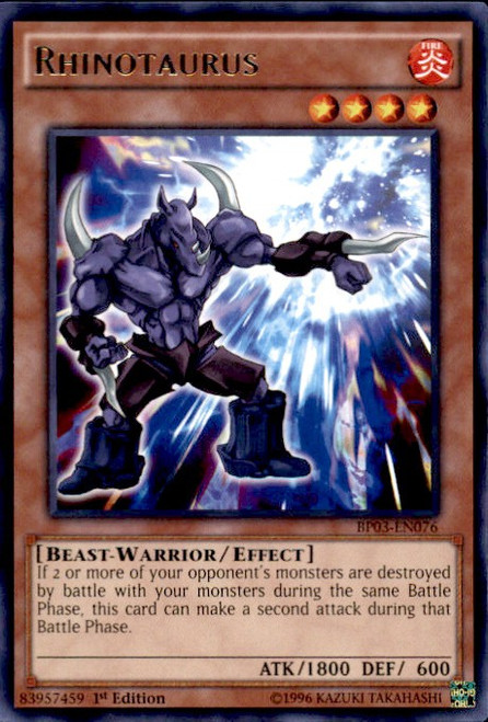 YuGiOh Battle Pack 3 Monster League Rare Rhinotaurus BP03-EN076