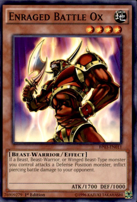 YuGiOh Battle Pack 3 Monster League Shatterfoil Common Enraged Battle Ox BP03-EN011 [Shatterfoil]