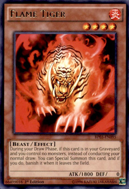 YuGiOh Battle Pack 3 Monster League Rare Flame Tiger BP03-EN095