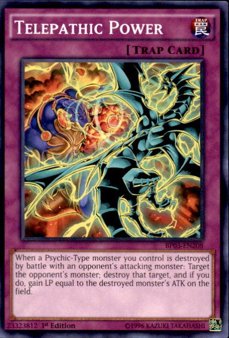 YuGiOh Battle Pack 3 Monster League Common Telepathic Power BP03-EN208