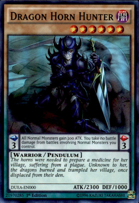 YuGiOh Duelist Alliance Super Rare Dragon Horn Hunter DUEA-EN000