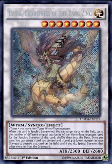 YuGiOh Duelist Alliance Secret Rare Baxia, Brightness of the Yang Zing DUEA-EN051