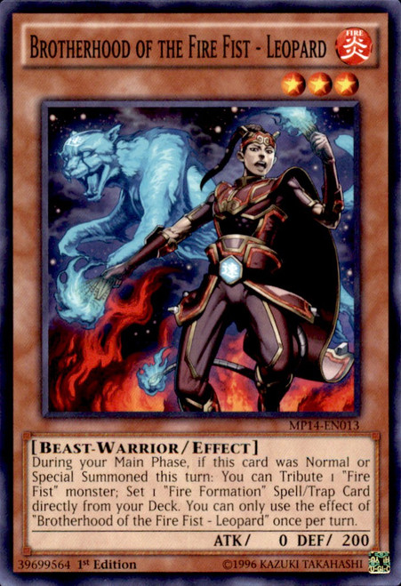 YuGiOh 2014 Mega Tin Common Brotherhood of the Fire Fist - Leopard MP14-EN013