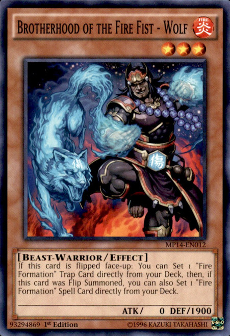 YuGiOh 2014 Mega Tin Common Brotherhood of the Fire Fist - Wolf MP14-EN012
