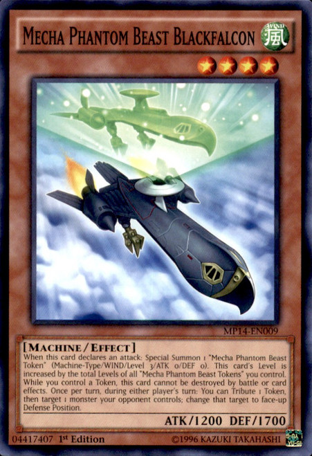 YuGiOh 2014 Mega Tin Common Mecha Phantom Beast Blackfalcon MP14-EN009