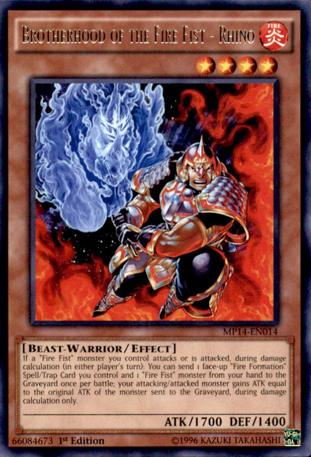 YuGiOh 2014 Mega Tin Rare Brotherhood of the Fire Fist - Rhino MP14-EN014