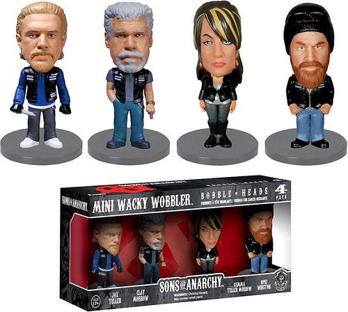 Funko Sons of Anarchy Mini Wacky Wobbler Jax, Clay, Gemma & Opie Bobble Head 4-Pack Set